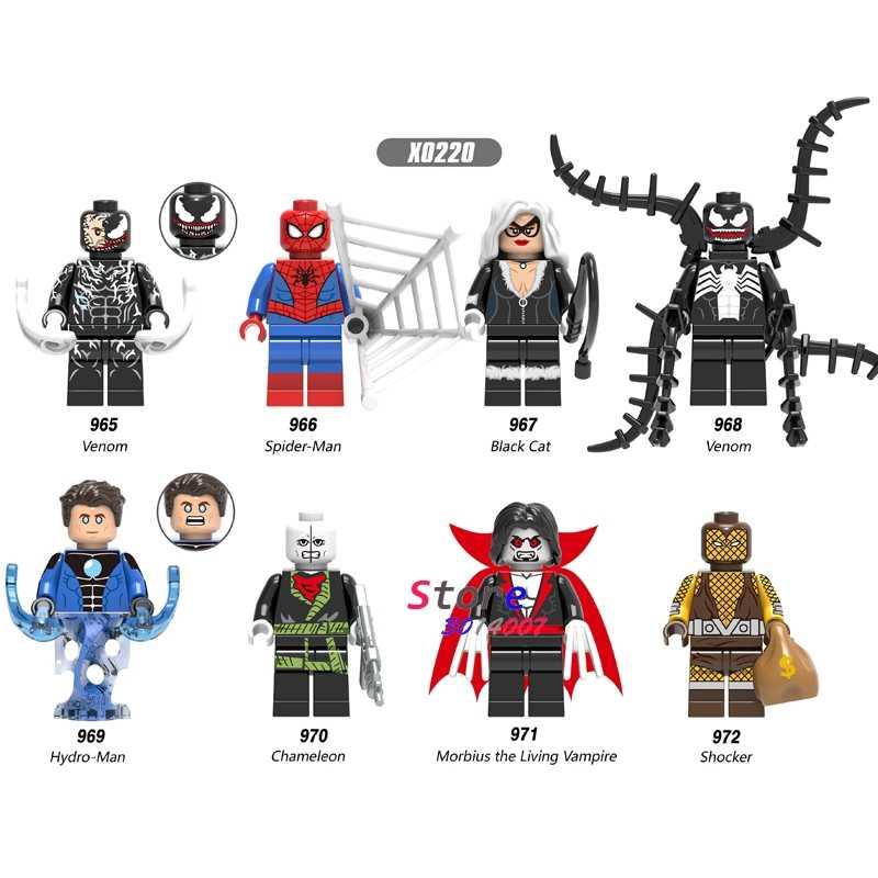 Único Veneno Camaleão Morbius a Sala de Vampiro Gato preto Hydro-Homem Choque SpiderMan Figura blocos de construção de brinquedos para crianças