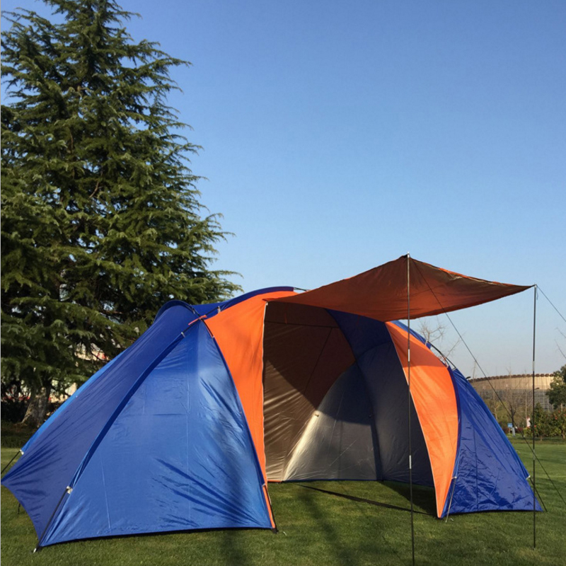 Large Camping Tent Tourist Two Bedrooms Double Layer 5 - 8 Person Folding Outdoor Tents Camping Family Travel Fishing Tent octagonal outdoor camping tent large space family tent 5 8 persons waterproof awning shelter beach party tent double door tents