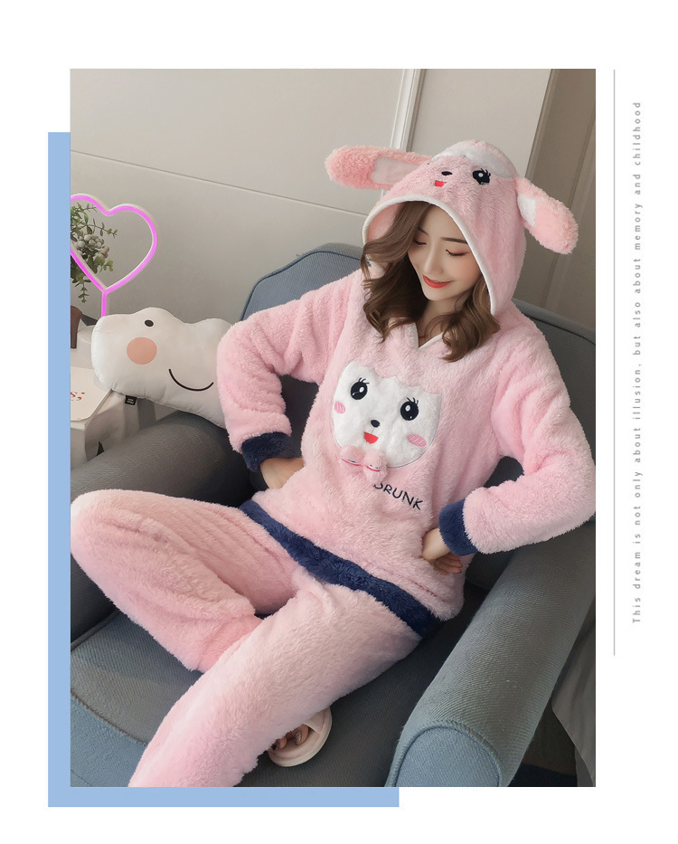 Winter Women Pajama Flannel Sleepwear Long Sleeves Hot Pajamas For Women Velvet Pajama Women Soft Clothing 92
