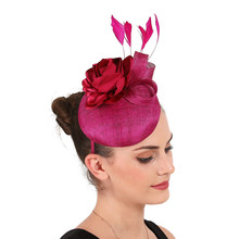 Feather Fascinator Hair Clips 4-Layer Sinamay Millinery Hats Magenta Flower Pillbox Hat Wedding Cocktail Derby Church Fedora Cap