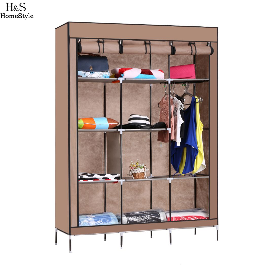 ФОТО Dust-Proof Clothes Wardrobe Simple Portable Cloth Closet Sundries Storage Organizer Cabinet Shoe Rack With Shelves