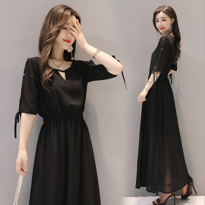 2019 summer fashion vestido women's loose waist chiffon short sleeve clothes dress femme red black green long dresses vestidos