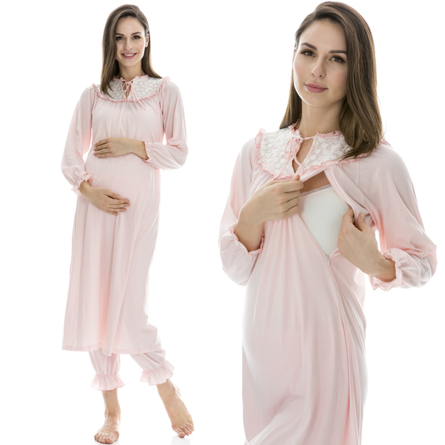 8d39f5c323 Maternity Nursing Pajamas Pink Lovely Lace Cotton Maternity Breastfeeding  Clothes Sleepwear for Pregnant Women