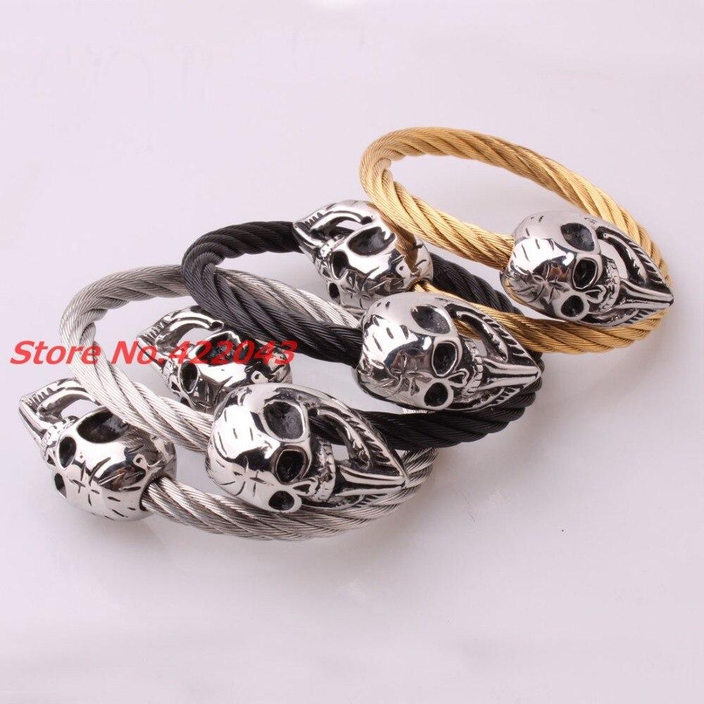 New Punk Skull font b Bracelets b font Twisted Silver Black font b Gold b font