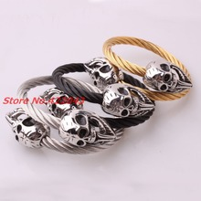 New Punk Skull Bracelets Twisted Silver Black Gold Stainless Steel Cable Wires Skull Clasp Cuff Bracelets Jewelry For Men Womens