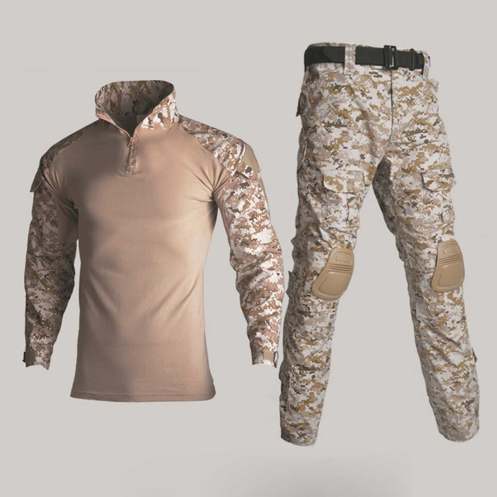 Bdu Tactische Camouflage Militaire Uniform Kleding Pak Mannen Us Army Kleding Airsoft Militaire Combat Shirt + Cargo Broek Kniebeschermers