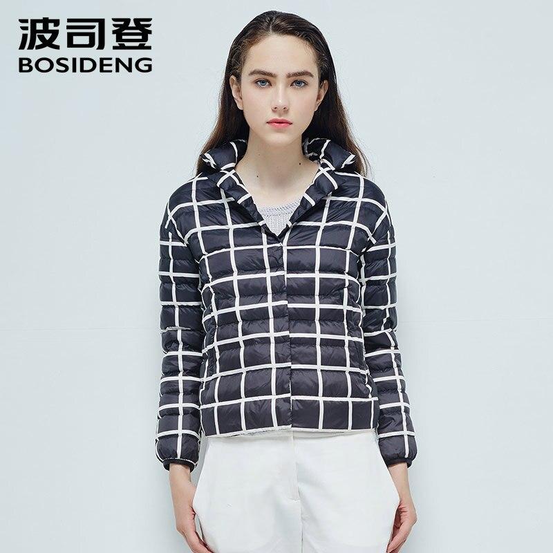 BOSIDENG женщины гусь пуховая куртка короткий пуховик альтернативный Черный и белый цвета блоки ПР модный Сверхлегкий высокого качества B1601056