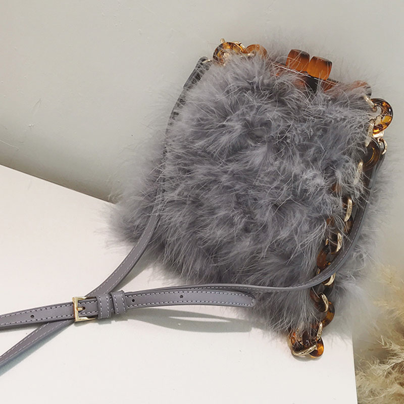 LYDIAN 2018 Luxury famous Brand Ins Bag Bucket Bag Acrylic Chain Vintage Party Clutch Women Winter Fur Feather Shoulder Handbag цены