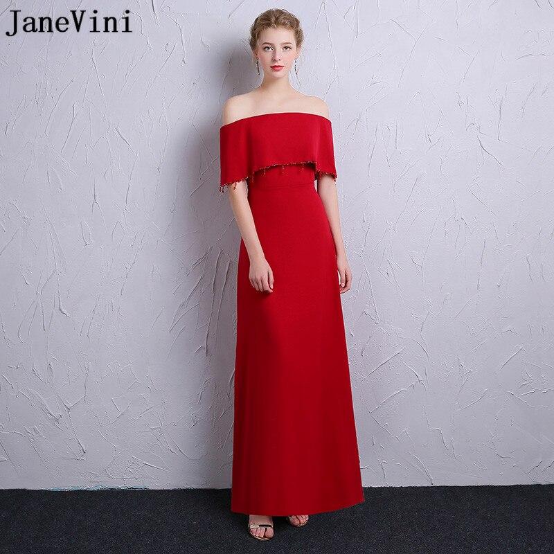 Robes De demoiselle d'honneur rouge JaneVini élégant col bateau perlé dos nu robes De mariée longueur De plancher Vestidos Dama De Honor Largo