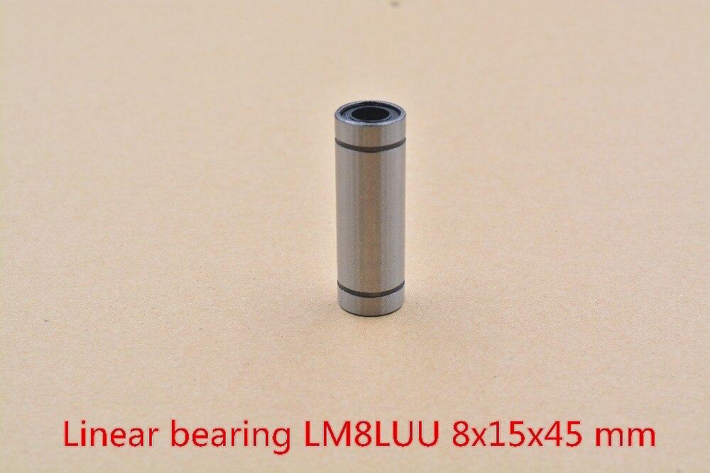 LM8LUU 8mmx15mmx45mm 8mm linear ball bearing bush bushing for 8mm rod round shaft cnc 1pcs new 8mm bearing bushing sc8v sc8vuu scv8uu linear bearing block for 8mm linear shaft