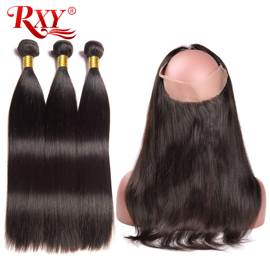 360 Lace Frontal With Bundle Peruvian Straight Human Hair Bundles With Closure 3 Bundles Human Hair