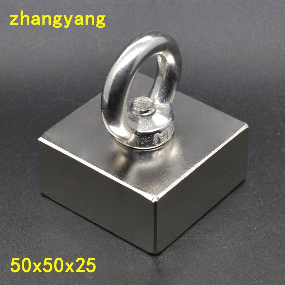 1 pz 50X50X25 Super Forte di Salvataggio Magnete della Terra Rara Disco Magnetico con magnete ad anello Magneti Al Neodimio 50*50*25