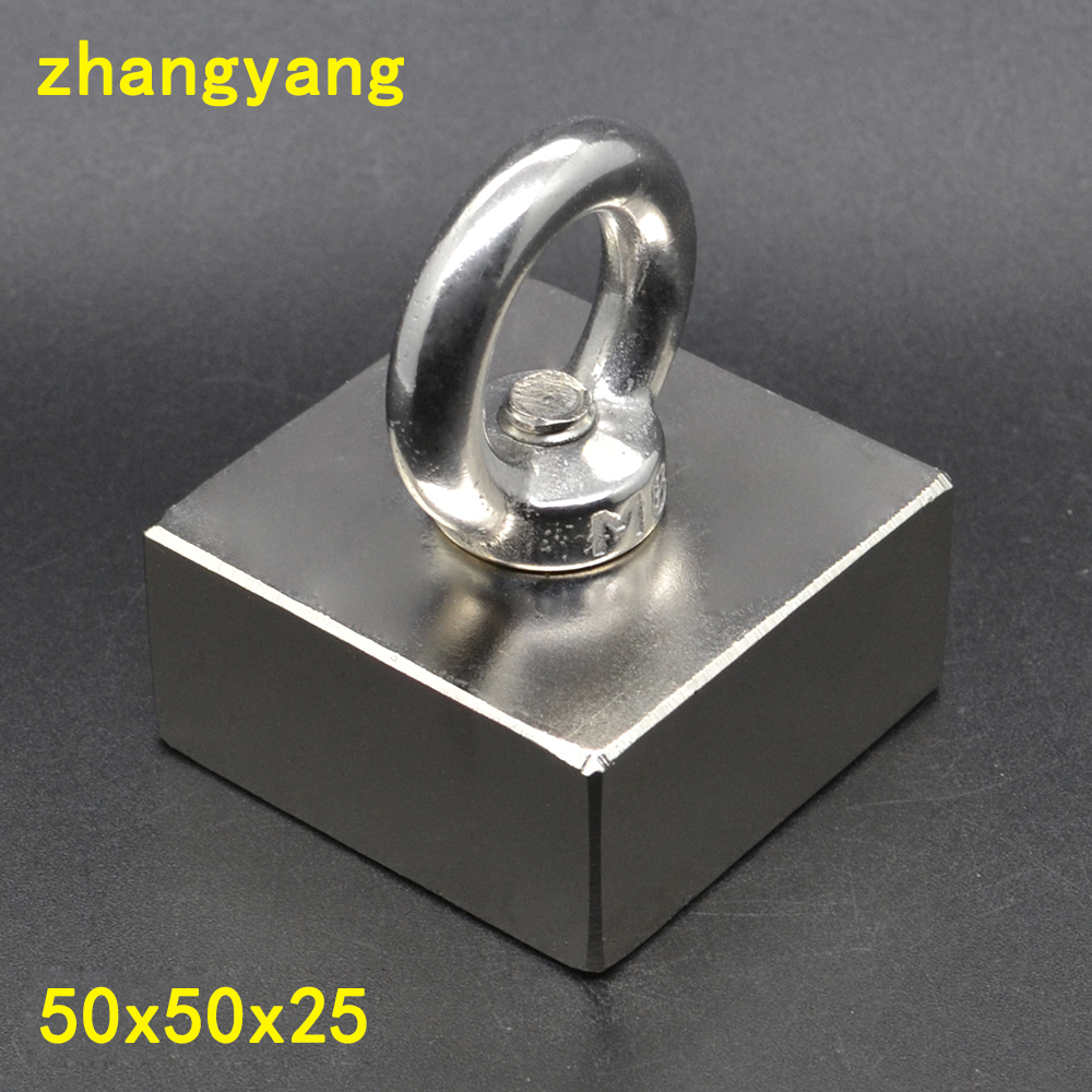 1PCS 50X50X25 Super Strong Salvage Magnet Rare Earth Disc Magnet with ring magnet Neodymium Magnets 50*50*25 m8 block neodymium magnets neodymium recovery magnet with hook strong rare earth magnet metal detector with ring