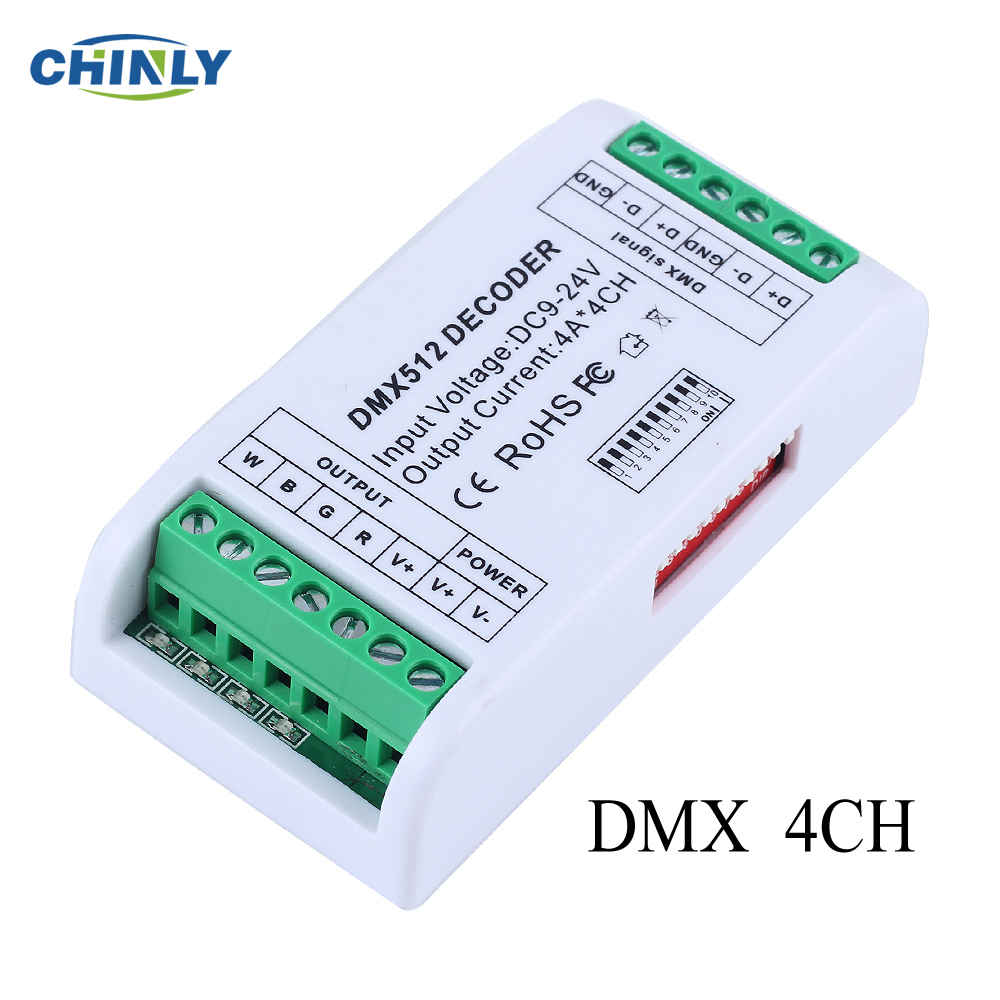 NEW LED Strip Controller 4CH Mini DMX 512 Decoder RGB Controller Console Use Decorated Lighting Home Lights Dimmer DC12V-24V