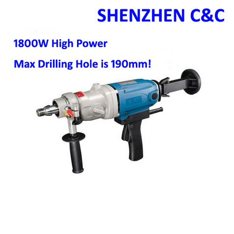 HQ 190mm Diamond Drill With Water Source hand held 1800w Concrete Drill Hole Machine 3 Speed