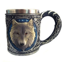 3D Wolf King Head Pattern Mug Retro Resin Stainless Steel Coffee Tea Cup Creative Cups