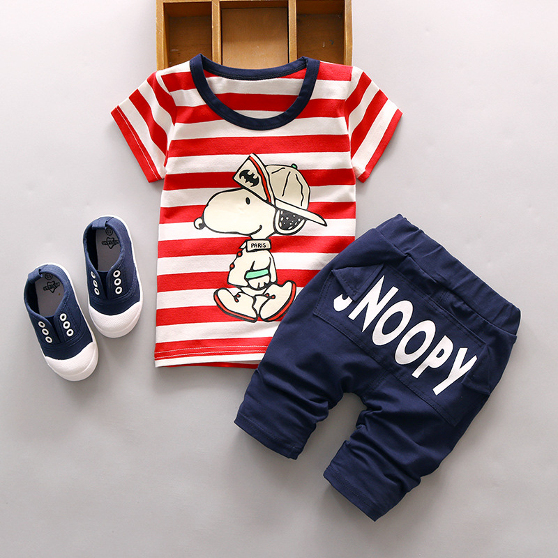 Boys Clothes Summer Cute Dog Striped Short Sleeved T-shirt Tops + Pants Casual Kids Sport Suits Children Bebes Jogging Suits