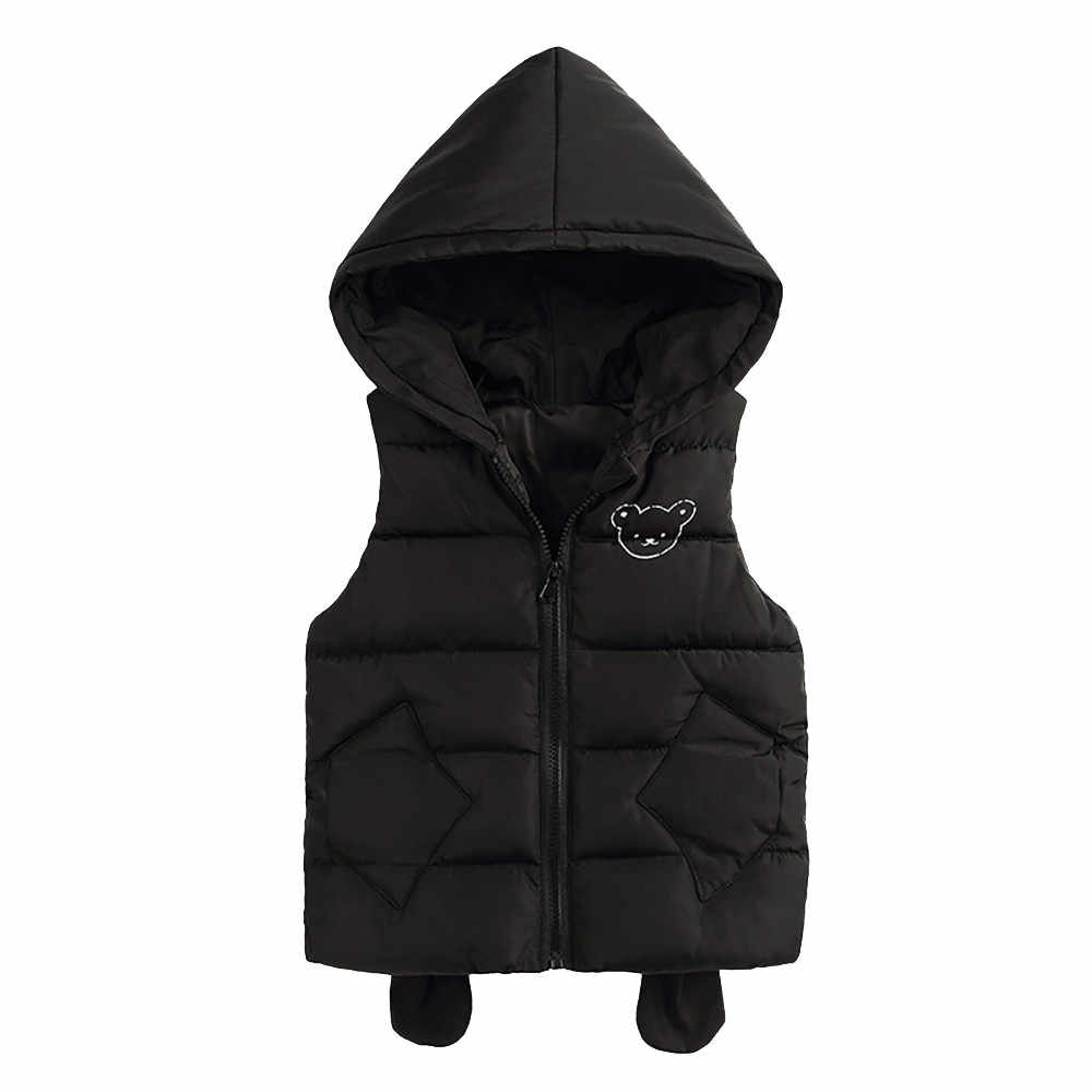 2018 New Fashion Baby Girls Baby Children's sleeveless hooded solid color winter warm thick vest Dress Outfits Clothes