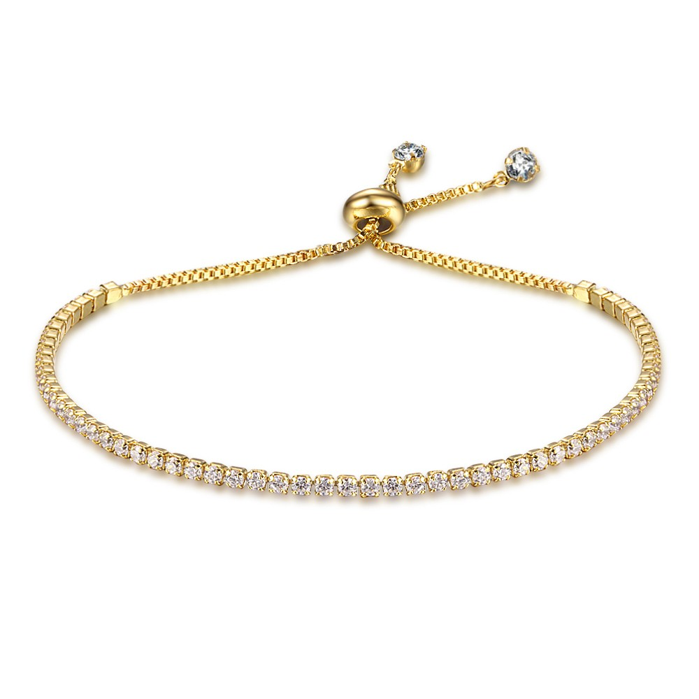 Party Jewelry Adjustable Bracelet For Women 2mm Cubic Zirconia Gold Color Blacelets & Bangles Gift For Her (JewelOra BA101437) 1