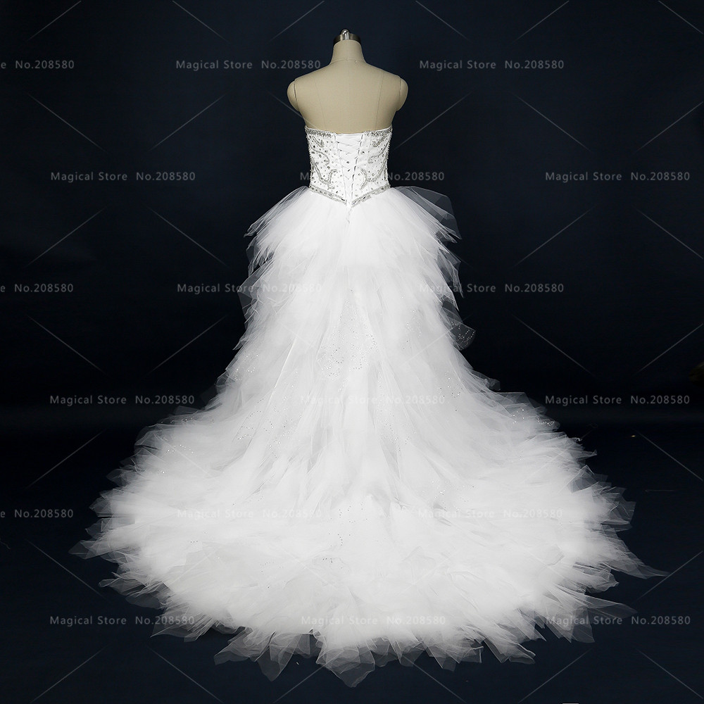 Aliexpress Buy Real Photo White Wedding Dresses Crystal High Low Bridal Gowns Tulle Short Front Long Back Rhinestone Vestidos De Noiva R01 From
