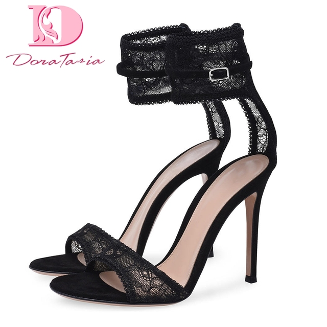 80df2553a4f DoraTasia hot sale big size 34-45 sexy thin high heels lace ankle-strap  summer sandals woman pumps party wedding women's shoes