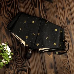 Image 2 - Qualität Automatische Klapp Regen Regenschirm Frauen Anti Uv Schutz Sonnencreme Winddicht Ultra licht Kleine Frische Schiff Anker Sonnenschirm