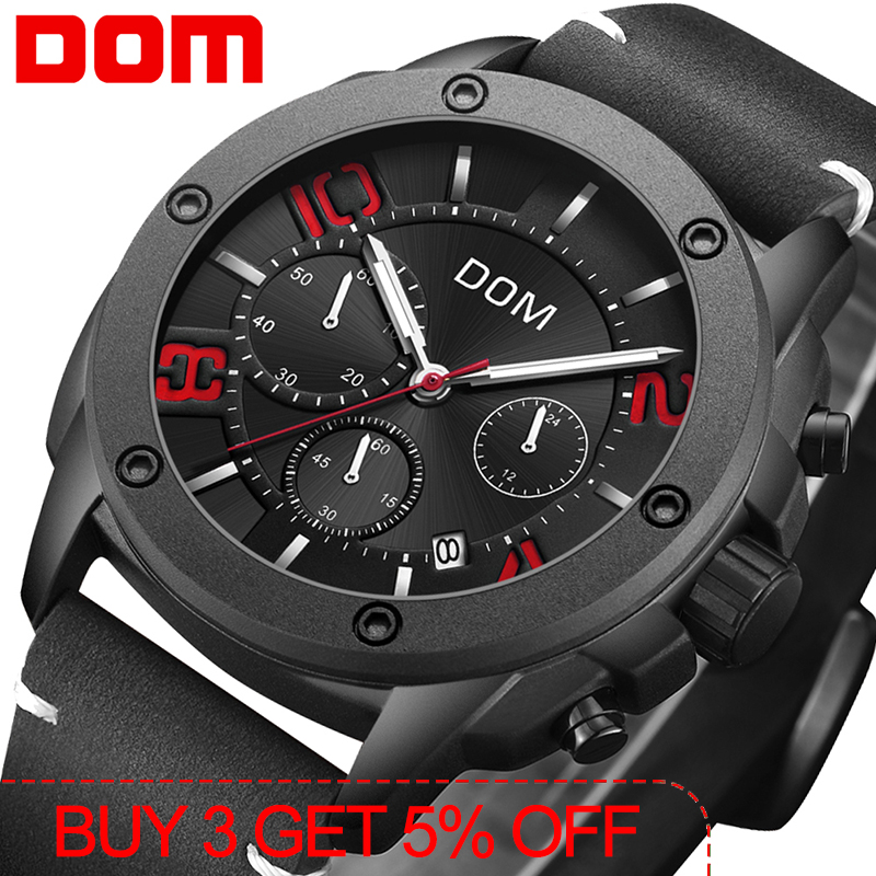 Reloje 2019 DOM Men Watch Male Leather Automatic date Quartz Watches Mens Luxury Brand Waterproof Sport Clock  M-1229BL-1M4