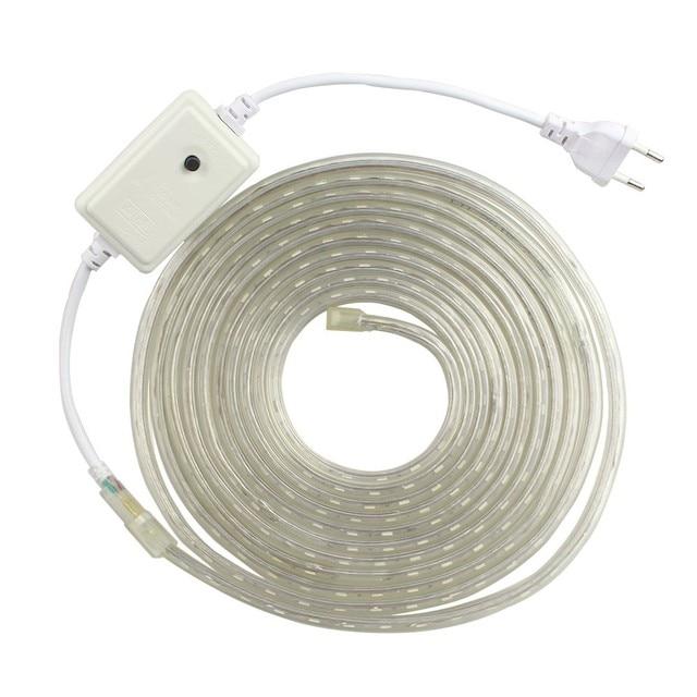 RGB LED Strip AC220V 5050 LED Strip Light RGB/White/Warm White/Blue 60LED/M 5M 10M LED Tape with EU Plug Outdoor Waterproof IP65