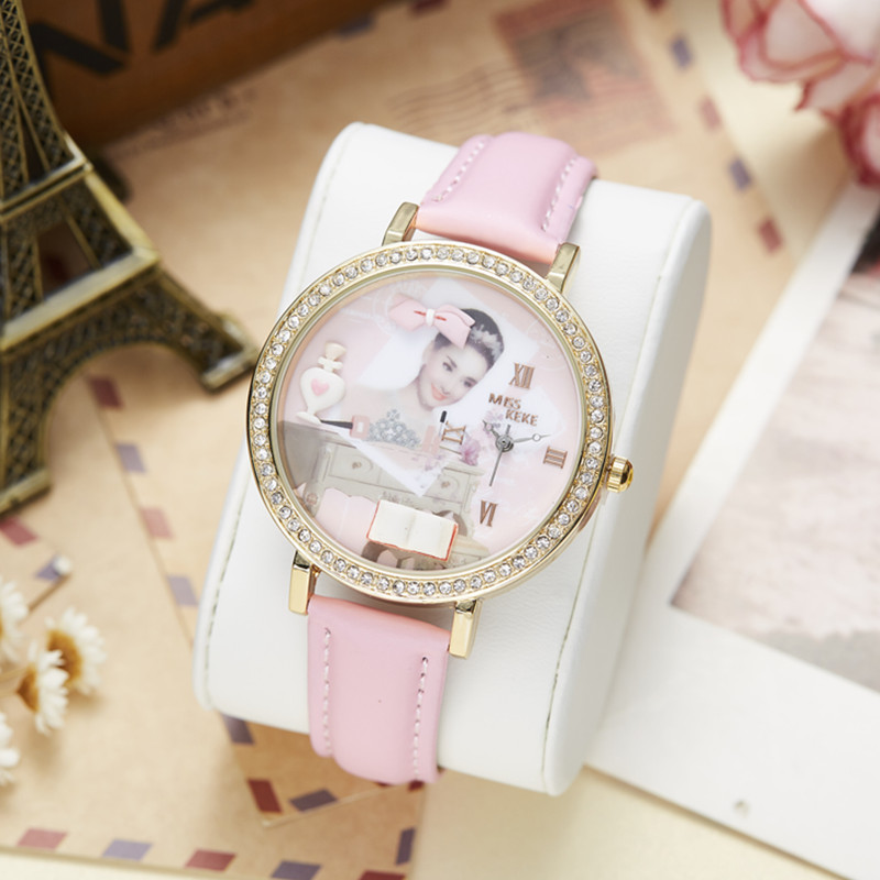 Miss Keke 3d Clay Cute Audrey Hepburn Theepot Strass Horloges Vintage - Dameshorloges - Foto 3