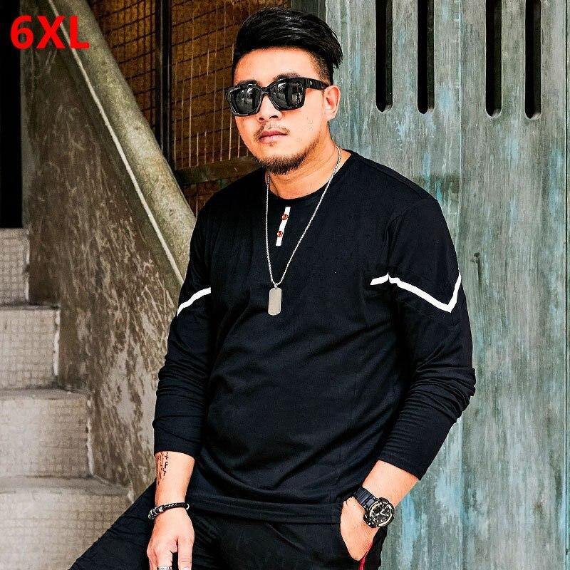 Large size t shirt male black round long sleeved extra large long sleeved T shirt men's bottoming shirt plus fertilizer XL tide