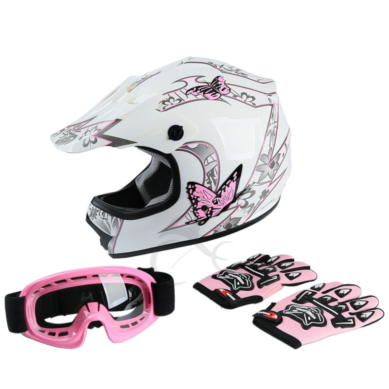 DOT Youth Hot Pink Butterfly Dirt Bike ATV MX Girls Helmet Motocross+Goggles+gloves S M L