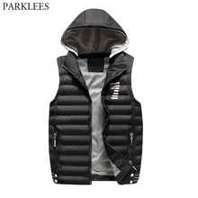 Men s Cotton Puffer Vest Removable Hooded Quilted Warm Winter Sleeveless  Jacket 2018 Casual Patchwork Windpfoof Waistcoat Men 22f7389a47
