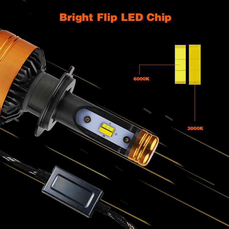 PAMPSEE Car Tricolor 3Color LED Headlight Z5 H1 H4 H7 H11 HB4 50W 5800LM 3000K 4300K 6000K Yellow White Dual Two Color LED Bulbs