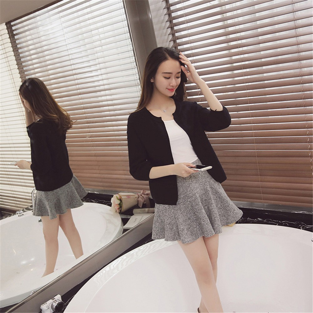 2016 Spring&Autumn Casual Sweater Women Cardigan Sweater Solid Color Open Stitch Women\'s Cotton Knitted Outerwear Sweater (4)