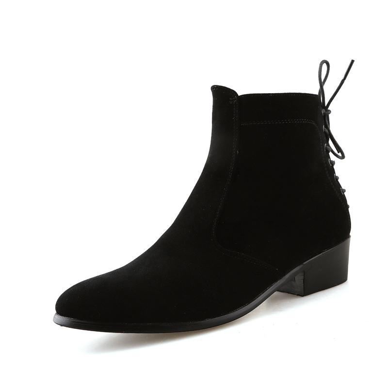 Fashion Ankle Boots Men Suede Heel Genuine Leather Martin boots Waterproof Warm Point Toe Winter Boots Men Shoes High Heels