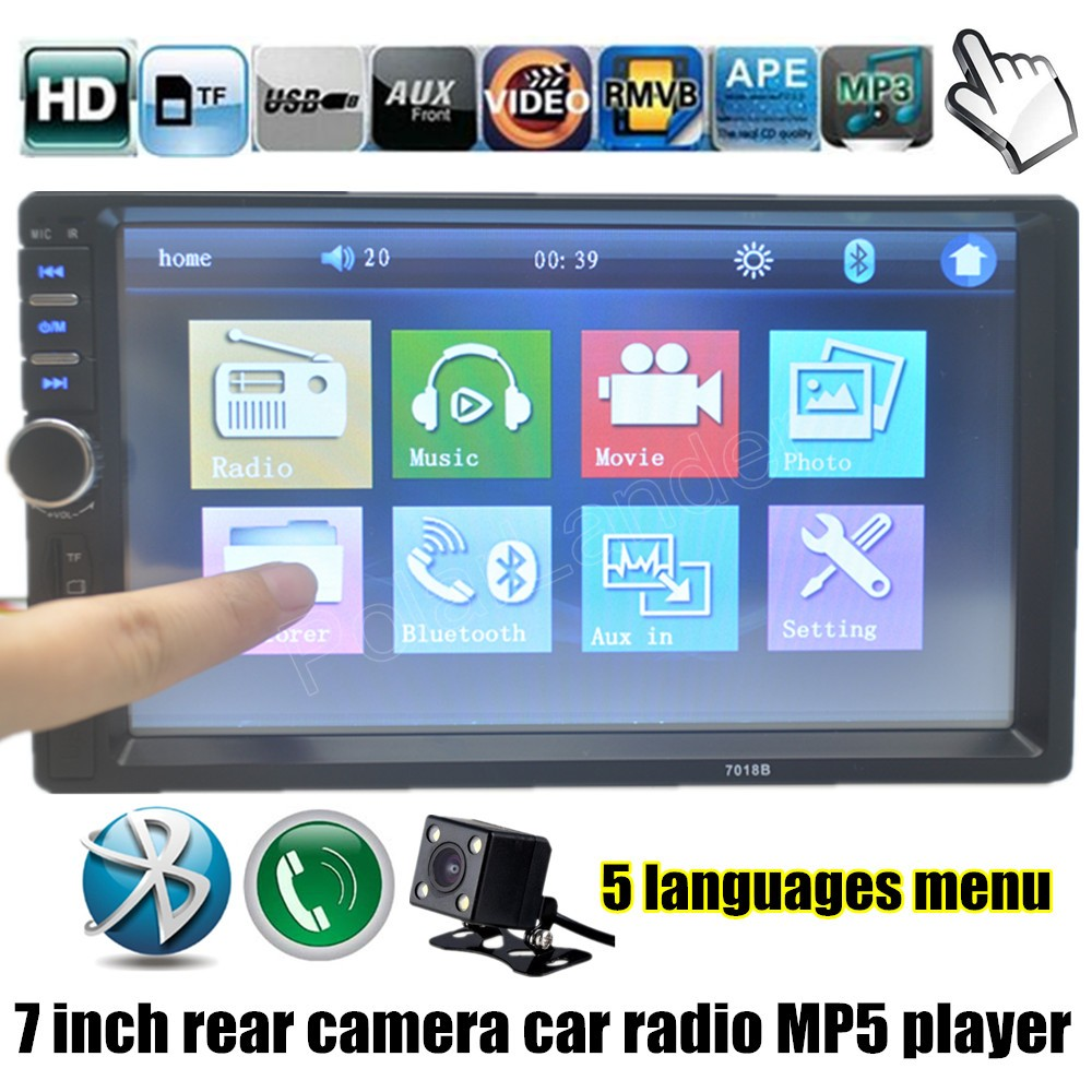 7 Inch Touch Screen Car Stereo Radio 2 DIN MP5 Player with Parking Camera USB TF FM AUX Bluetooth high quality 7 hd 2din car stereo bluetooth mp5 player gps navigation support tf usb aux fm radio rearview camera fm radio usb tf aux