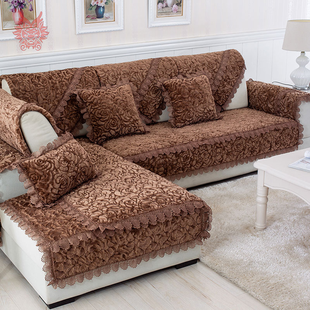 Rose Floral Quilted Plush Sofa Cover Chair Slipcovers Furniture Covers Fundas De Capa Para
