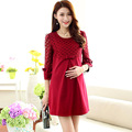 Fashion 2016 spring pregnancy dress loose maternity dresses red pink maternity blouse lace hollow pregnant women dresses