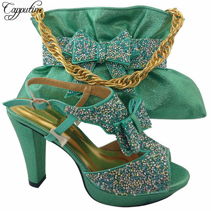 Cappufine Hot Selling Italian Women Shoe And Bag To Match For Fashion Wedding African Style High Heels Shoes And Bag Set MM1042 good selling african women shoes and bag set fashion shoes heels 9cm italian shoes and bags to match for party as1 4