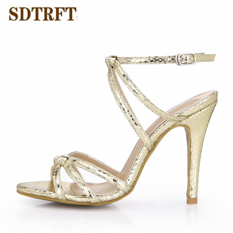 SDTRFT zapatos mujer Plus US10 11 12 Summer sexy Narrow Band sandals 10cm thin heels Sliver shoes woman Buckle party pumps cdts 35 45 46 summer zapatos mujer peep toe sandals 15cm thin high heels flowers crystal platform sexy woman shoes wedding pumps