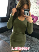 2018 Spring Summer Dress Army Green Bodycon Dress Girls Dresses Long Sleeve O-neck Sexy Mini Slim Fit Women Dress Bandage Robes