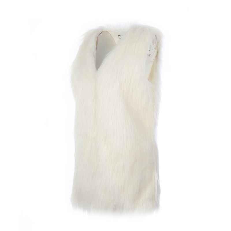 Длинные черный, белый цвет меховые жилеты Для женщин Топы искусственного меха пальто плюс Размеры без рукавов жилет кардиган осень 2018 зимние пальто для Для женщин F2