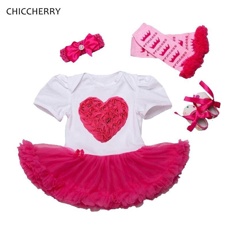 3D LOVE Baby Girl Lace Romper Dress Headband Leg Warmers Crib Shoes Vestido Para Bebe Newborn Tutu Sets Wedding Party Clothes