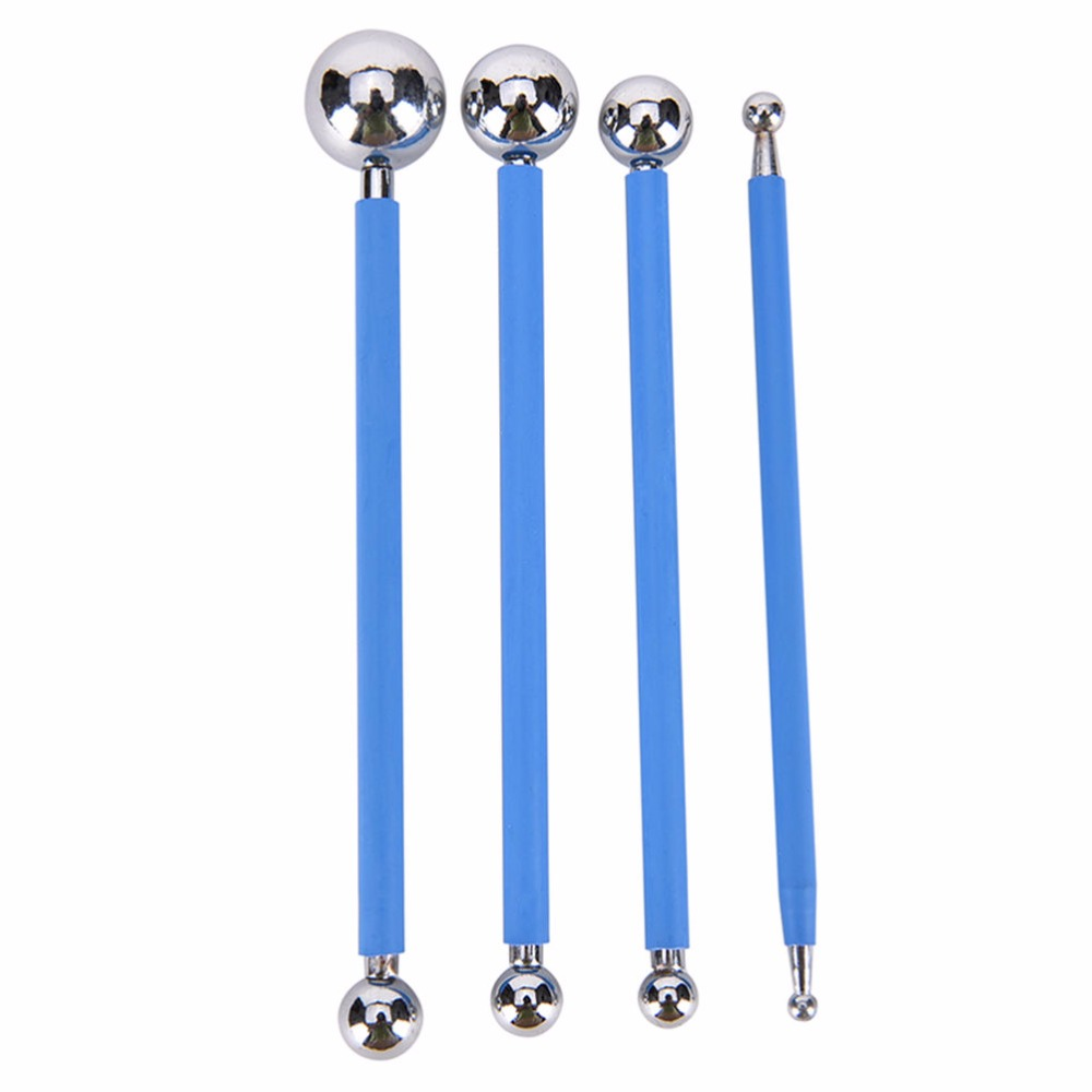 4 Pcs Cake Tools Modelling Stainless Steel Ball Double Sided 4 tools sugar paste cake Acessorios Decorating Tools Cake Molds,Blue silver