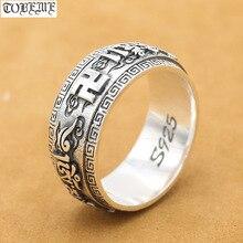 Nowy! Ręcznie wykonany ze srebra próby 925 tybetański OM Mani Padme Hum wirujący pierścień Vintage srebro buddyjski pierścień prawdziwy srebrny pierścień OM