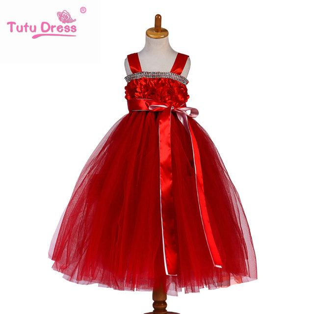 Princess tutu aniversário dos miúdos roupa do bebê tutu de tule rosa quente Vestido Da Menina com flor Crianças Formais Vestido de Meninas Tutu vestido