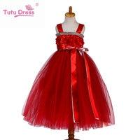 Princess Tutu Birthday Kids Hot Pink Clothing Baby Tutu Tulle Dress Girl Dress With Flower Kids