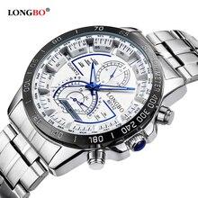 LONGBO Hombres de Acero Inoxidable Banda Militar Deportes Relojes de Cuarzo Dial Reloj De Los Hombres Macho Ocio Reloj Relogio masculino 80132