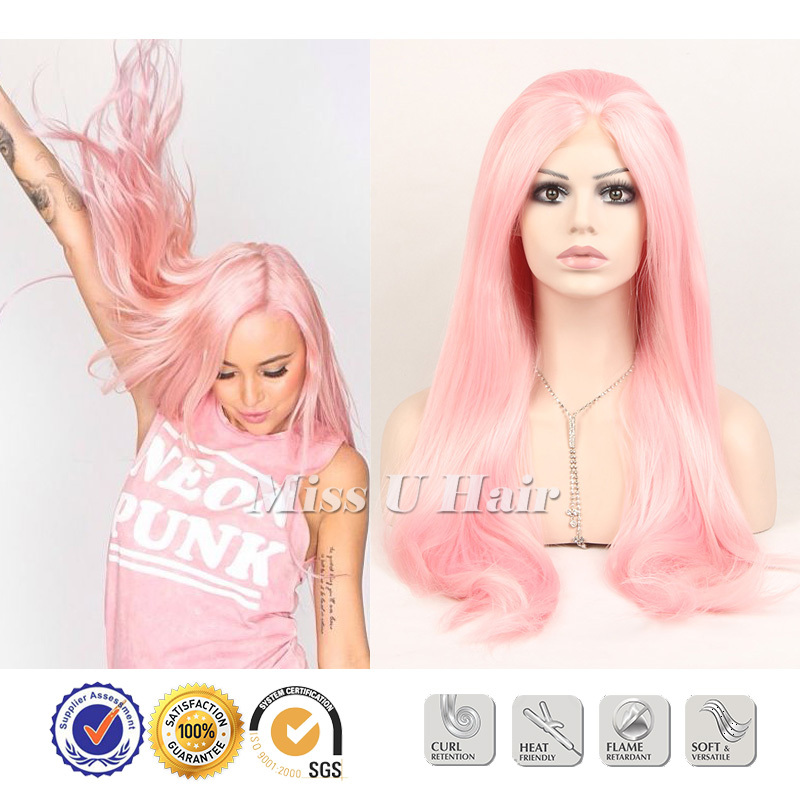 Pastel pink wig top quality synthetic long pink wig Heat Resistance pink straight lace front wig