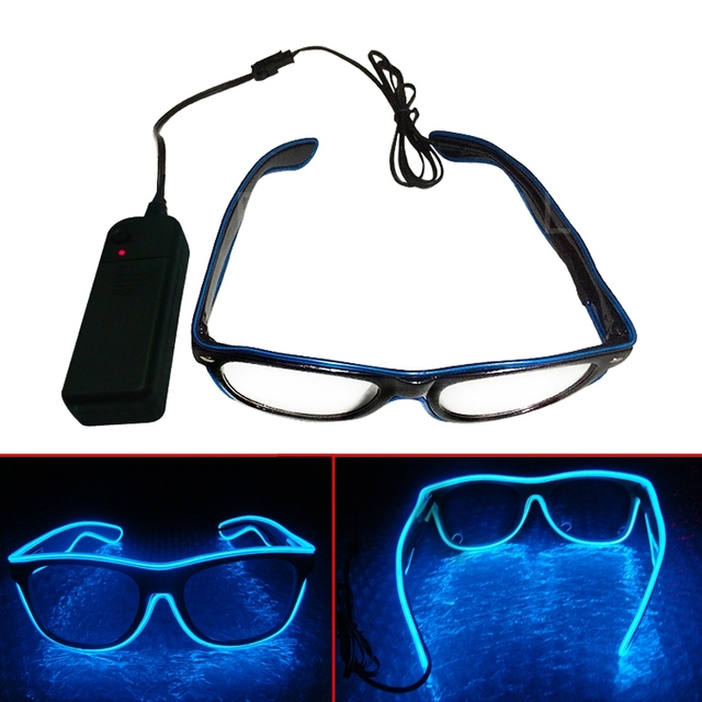 NEW El Wire Glow Sun Glasses Led DJ Bright Light Safety Light Up ...
